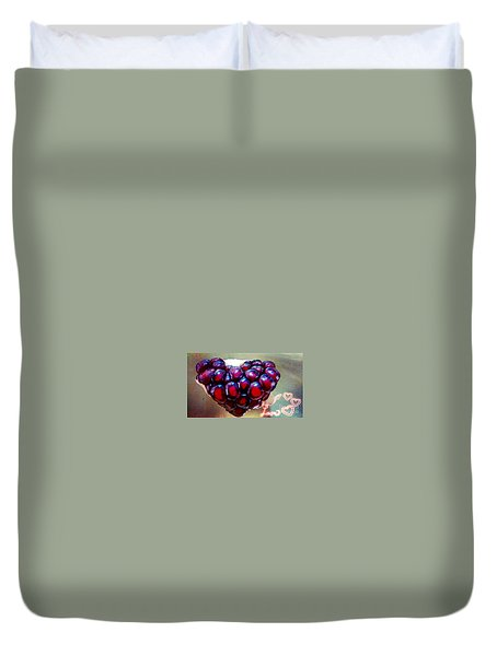 Duvet Cover featuring the digital art Pomegranate Heart by Genevieve Esson