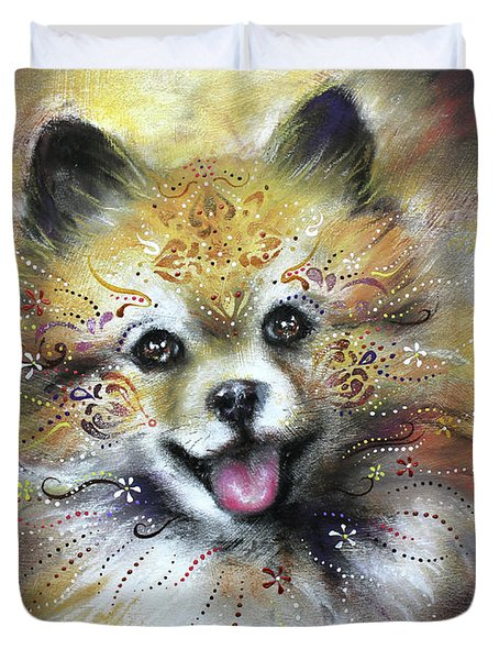 Duvet Cover featuring the mixed media Pomeranian by Patricia Lintner