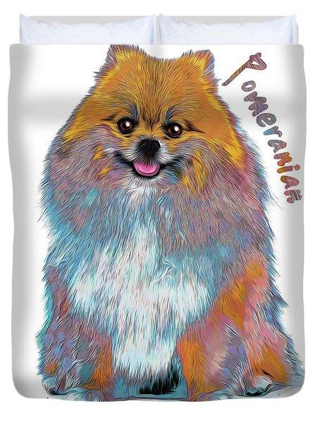 Pomeranian Pop Art Duvet Cover