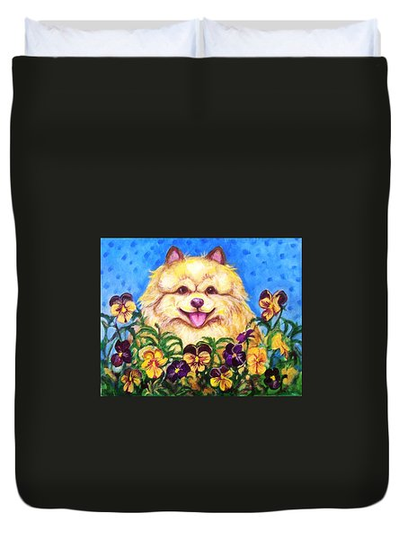 Pomeranian With Pansies Duvet Cover