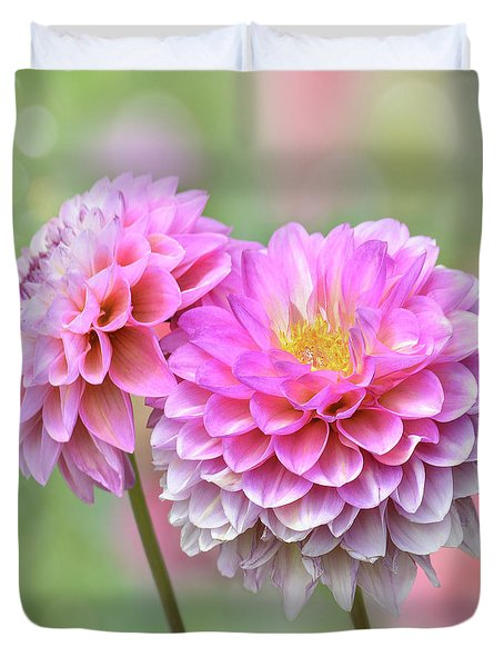 Duvet Cover featuring the photograph Pompon Dahlias by John Poon