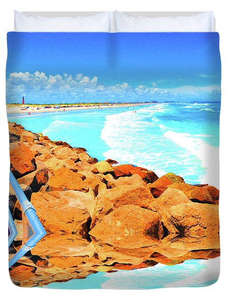 Ponce Inlet Jetty  Duvet Cover