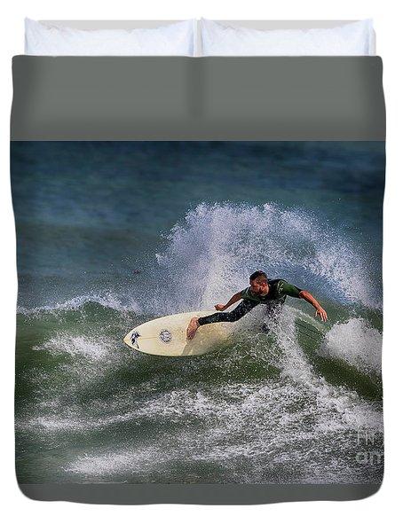 Duvet Cover featuring the photograph Ponce Surfer 2017 by Deborah Benoit