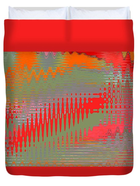 Duvet Cover featuring the digital art Pond Abstract - Summer Colors by Ben and Raisa Gertsberg