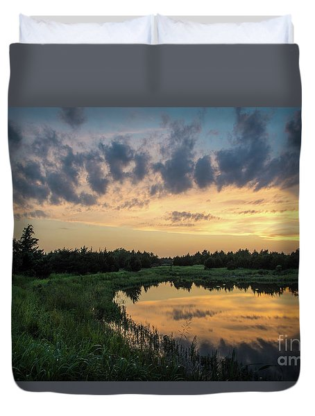 Pond And Sunset Duvet Cover