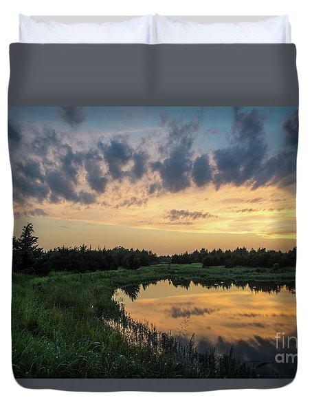 Pond And Sunset Duvet Cover