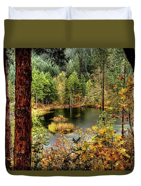 Duvet Cover featuring the photograph Pond At Golden Or. by Jim Adams