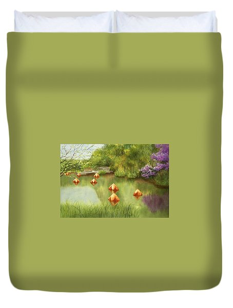 Pond At Olbrich Botanical Garden Duvet Cover