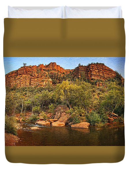 Pond At Red Rock Crossing Text Duvet Cover
