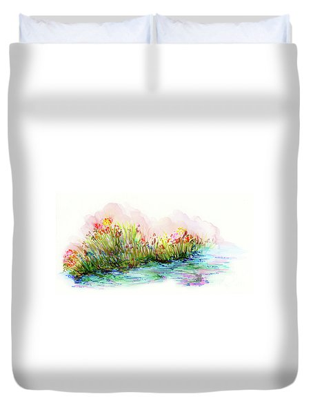 Duvet Cover featuring the painting Sunrise Pond by Lauren Heller
