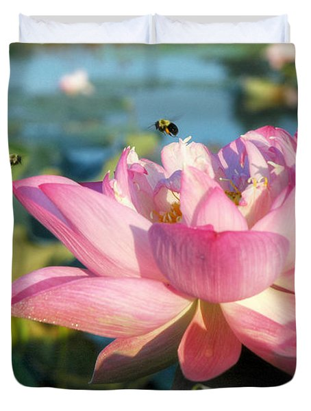 Pond Bees Duvet Cover