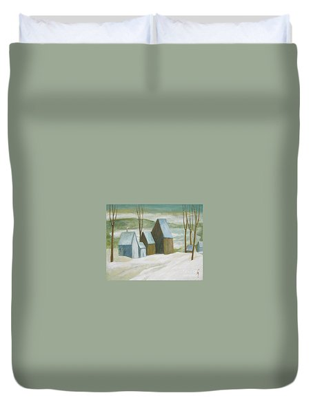 Pond Farm In Winter Duvet Cover