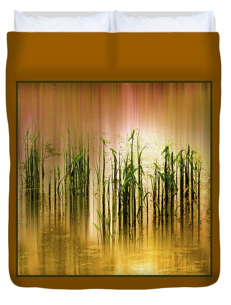 Duvet Cover featuring the photograph Pond Grass Abstract   by Jessica Jenney
