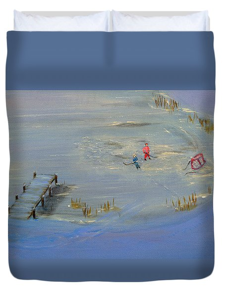 Pond Hockey Duvet Cover