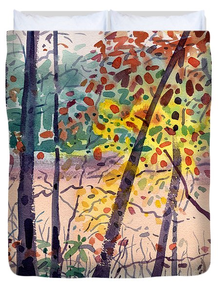 Duvet Cover featuring the painting Pond In Fall by Donald Maier