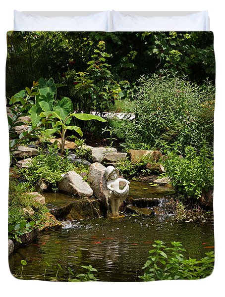 Pond In The Garden Duvet Cover