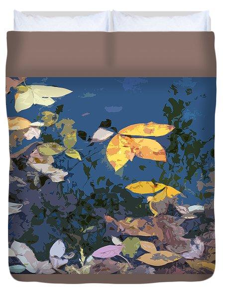 Autumn Leaves On The Pond Duvet Cover