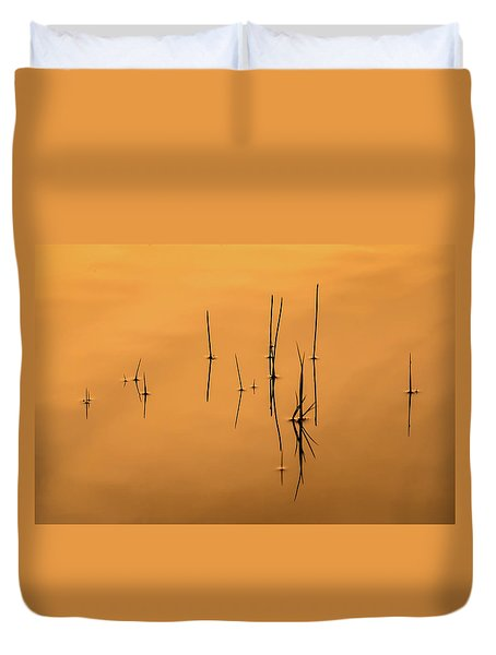 Pond Reeds In Reflected Sunrise Duvet Cover