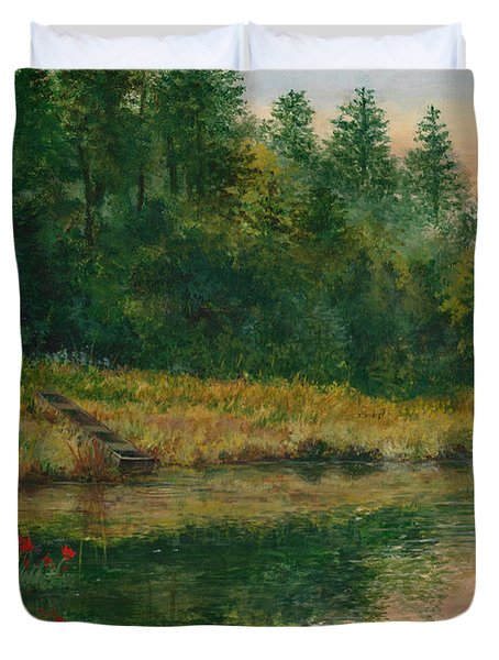 Pond With Spider Lilies Duvet Cover