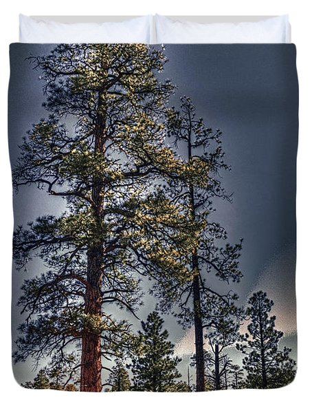 Ponderosa Pines At The Bonito Lava Flow Duvet Cover