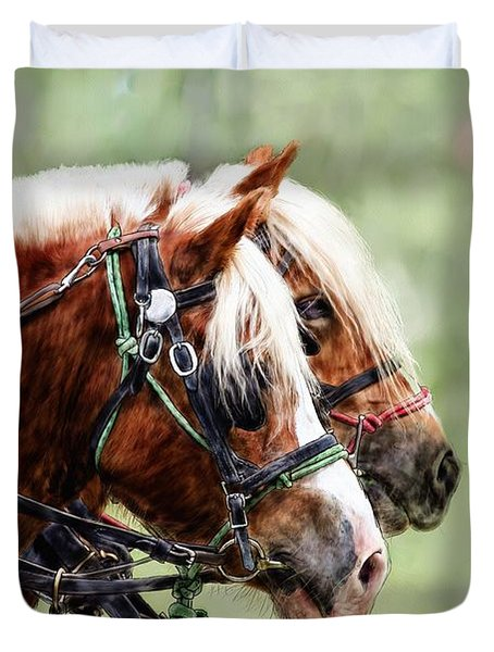 Ponies In Harness Duvet Cover