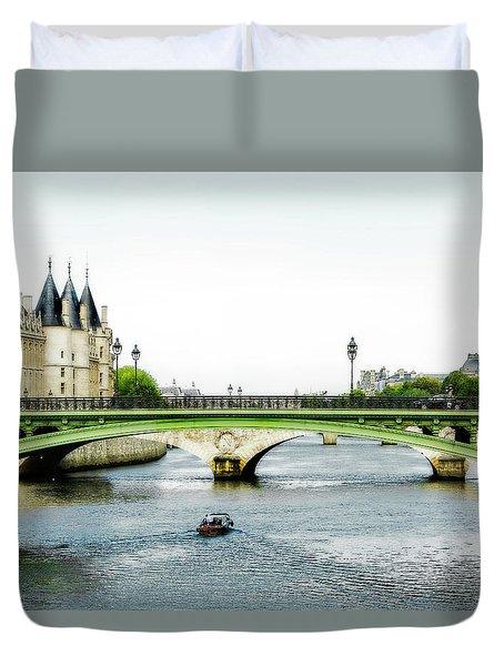 Pont Au Change Over The Seine River In Paris Duvet Cover