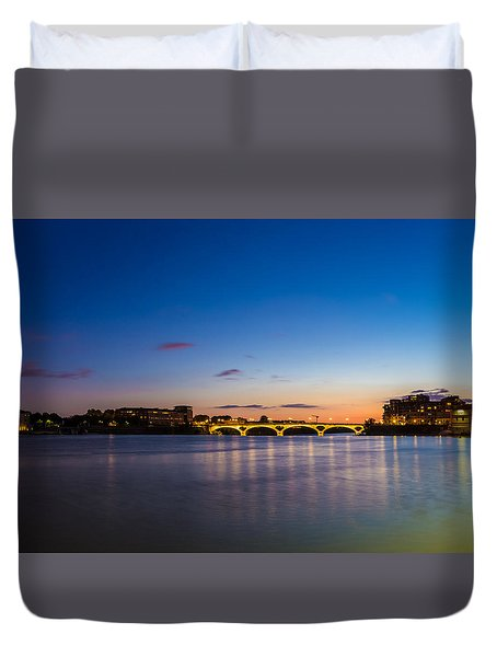 Duvet Cover featuring the photograph Pont Des Catalans And Garonne River At Night by Semmick Photo