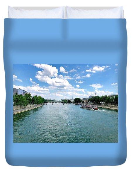 River Seine At Pont Du Carrousel Duvet Cover
