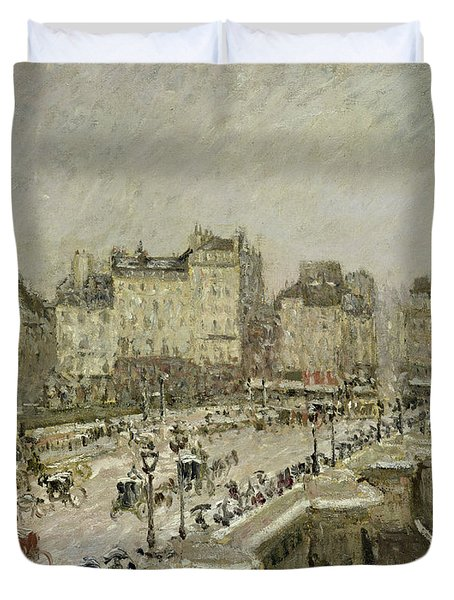 Pont Neuf Snow Effect Duvet Cover by Camille Pissarro