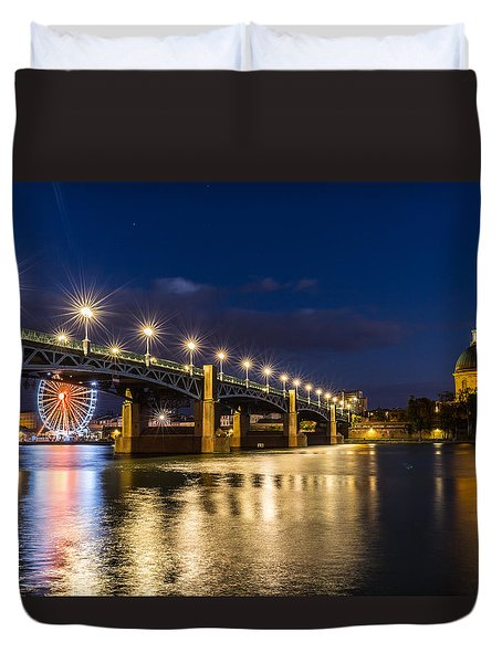 Duvet Cover featuring the photograph Pont Saint-pierre With Street Lanterns At Night by Semmick Photo