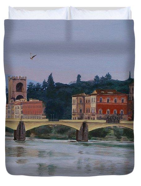 Pont Vecchio Landscape Duvet Cover by Lynne Reichhart