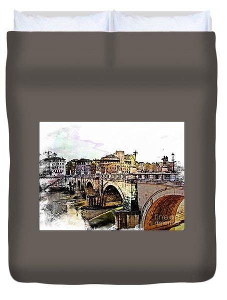 Ponte San Angelo, Rome, Italy Duvet Cover
