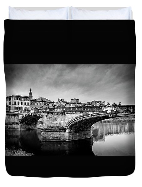 Duvet Cover featuring the photograph Ponte Santa Trinita by Sonny Marcyan