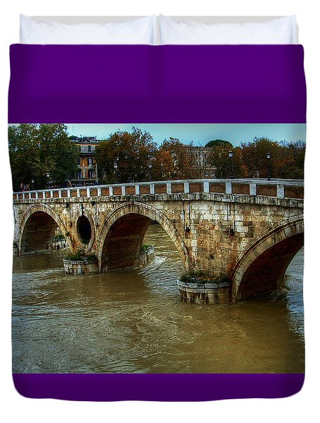Ponte Sisto Bridge Rome Duvet Cover