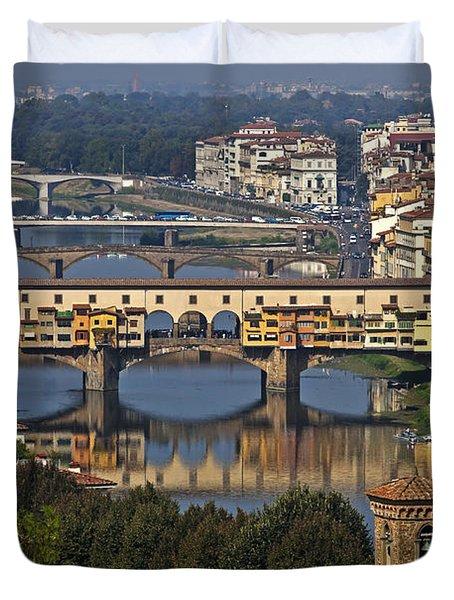 Ponte Vecchio - Florence Duvet Cover by Joana Kruse