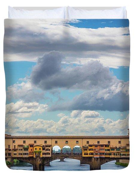 Ponte Vecchio Clouds Duvet Cover