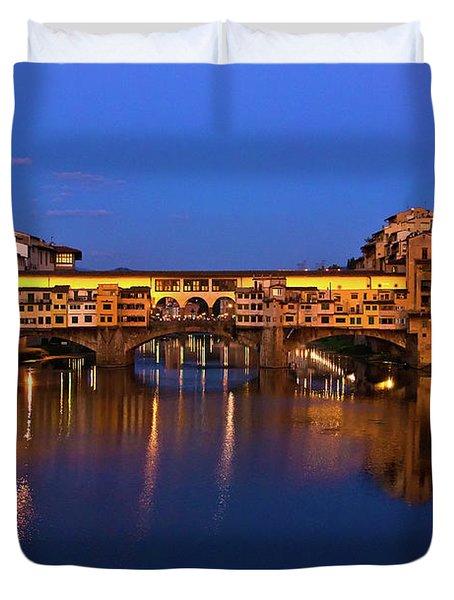Ponte Vecchio Dusk  Duvet Cover