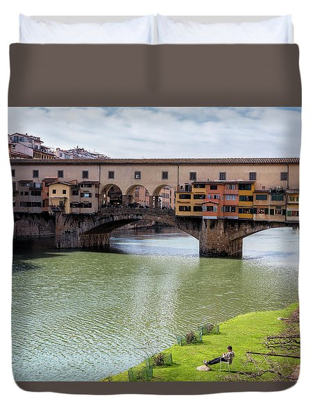 Duvet Cover featuring the photograph Ponte Vecchio Florence Italy II by Joan Carroll