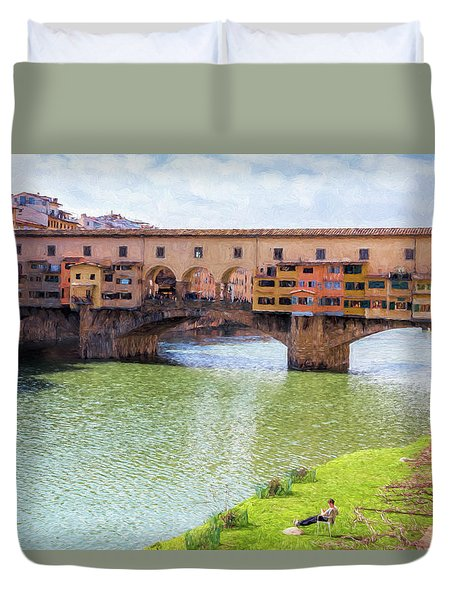 Duvet Cover featuring the photograph Ponte Vecchio Florence Italy II Painterly by Joan Carroll