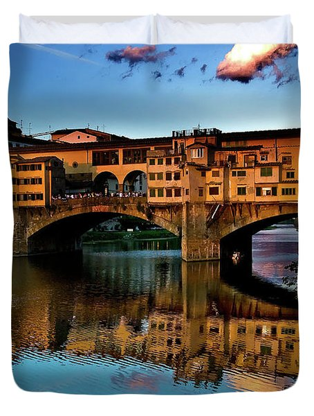 Duvet Cover featuring the photograph Ponte Vecchio From West  by Harry Spitz