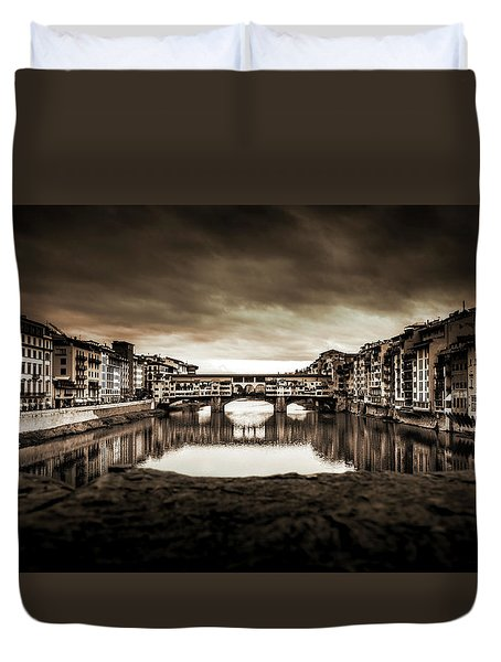 Duvet Cover featuring the photograph Ponte Vecchio In Sepia by Sonny Marcyan