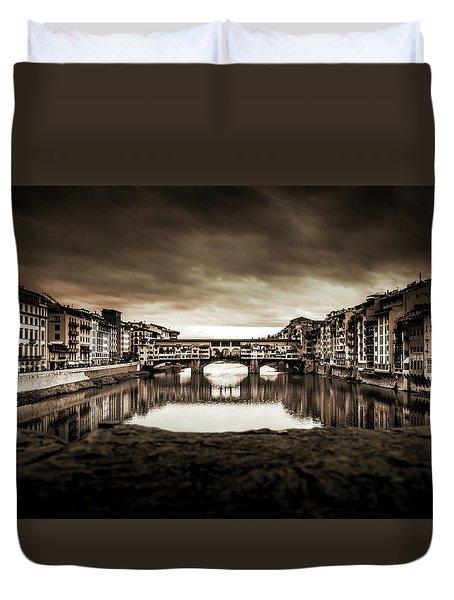 Ponte Vecchio In Sepia Duvet Cover
