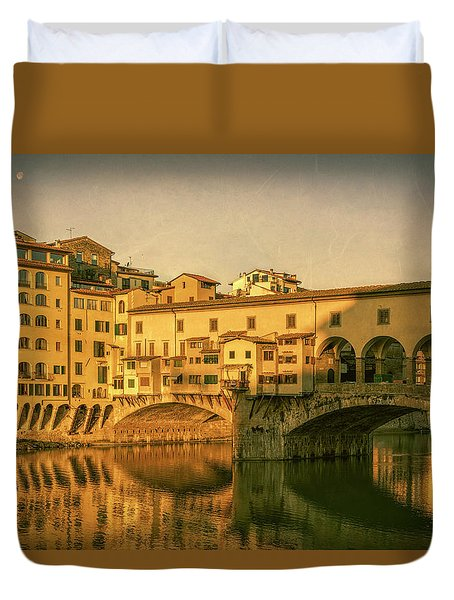Duvet Cover featuring the photograph Ponte Vecchio Morning Florence Italy by Joan Carroll