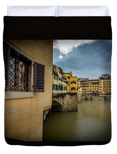 Duvet Cover featuring the photograph Ponte Vecchio by Sonny Marcyan