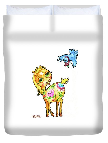 Pony And The Bluebird Watercolor Pencil Art Duvet Cover by Shelley Overton