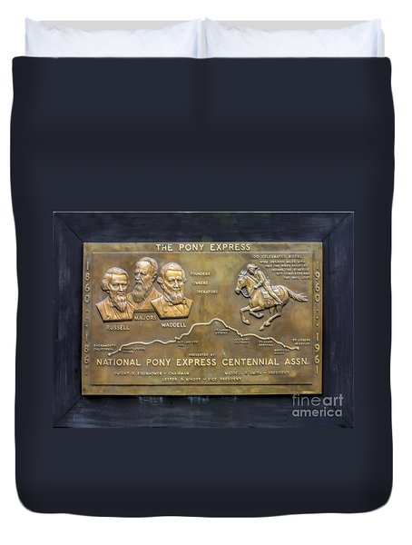 Pony Express Brass Plaque Duvet Cover