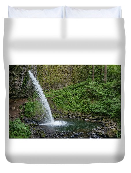 Duvet Cover featuring the photograph Ponytail Falls by Greg Nyquist