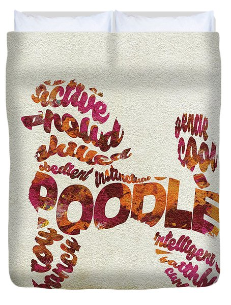 Duvet Cover featuring the painting Poodle Dog Watercolor Painting / Typographic Art by Inspirowl Design
