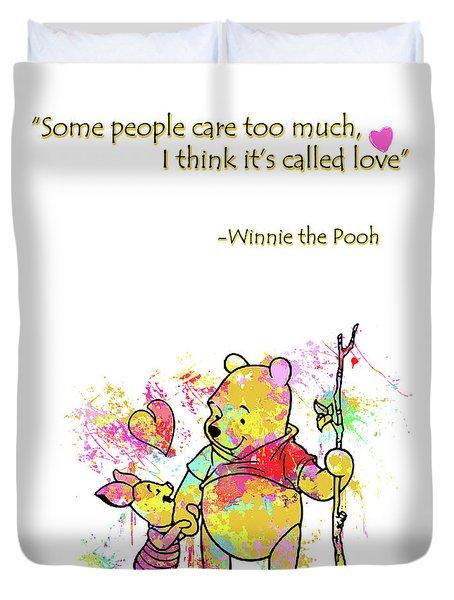Pooh - Cute Love Quotes Duvet Cover