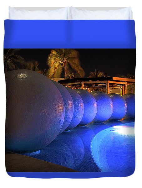 Duvet Cover featuring the photograph Pool Balls At Night by Shane Bechler